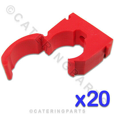 CL115 TALON 20 x HIGH QUALITY 22mm SINGLE HINGED PIPE CLIPS RED FOR HOT WATER