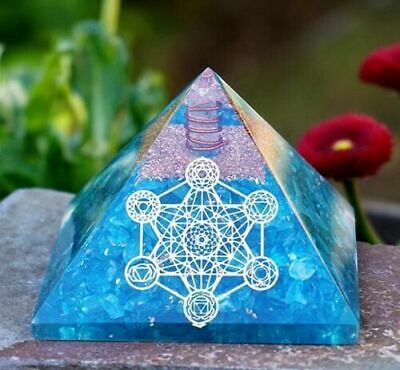 Orgone Pyramid Emf Protection Apatite Orgonite Pyramid for Meditation 65-70mm