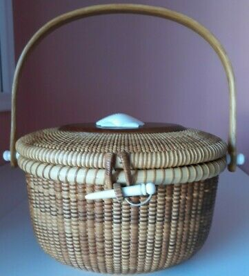 "John Keane Nantucket Lighthouse Lightship Basket Purse 1995 Oval 8.5"" W x 6.5"" H"