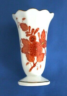 Herend Mini Vase Chinese Bouquet Pattern Rust Colored Handpainted In Hungary