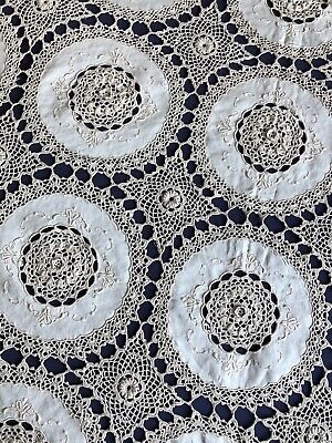 Huge Unused Vintage Hand Crocheted Beige Cotton Tablecloth Embroidered Inserts