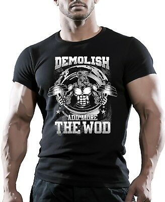 WOD Functional Training Bodybuilding Workout Fitness Gym Black T-Shirt Tee