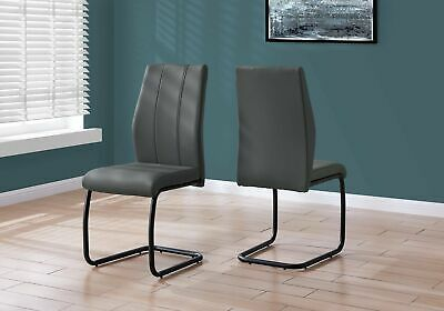 "Monarch Specialties I 1124 Dining Chair 2Pcs 39""H Grey Leather-Look Metal"