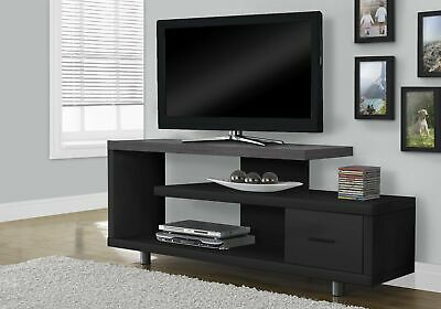 "Monarch Specialties I 2575 Tv Stand 60""L Black Grey Top With 1 Drawer"
