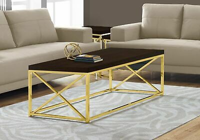 Monarch Specialties I 3238 Coffee Table Cappuccino With Gold Metal