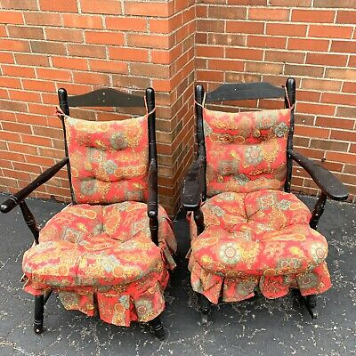 Pair of Vintage Antique Wood Arm Chairs 1 Rocker Painted Black Frankson Product