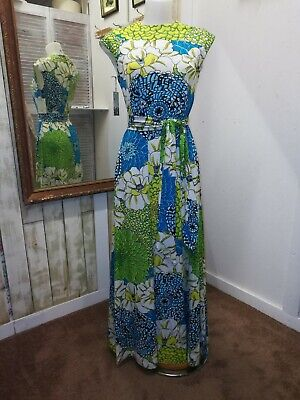 e51a83bb08f3 Vintage 1960 Leo Narducci Maxi Psychedelic Flower Power Hippy Hostess Dress  M/L