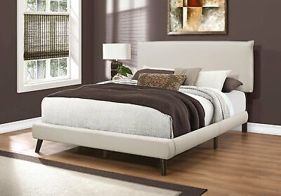 Monarch Specialties I 5951Q Bed Queen Size Beige Linen With Brown Wood Legs