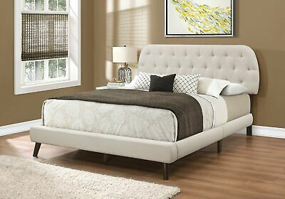 Monarch Specialties I 5981Q Bed Queen Size Beige Linen With Brown Wood Legs