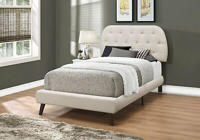 Monarch Specialties I 5981T Bed Twin Size Beige Linen With Brown Wood Legs