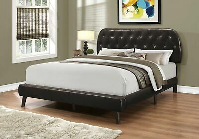 Monarch Specialties I 5982Q Bed Queen Size Brown Leather-Look With Wood Legs