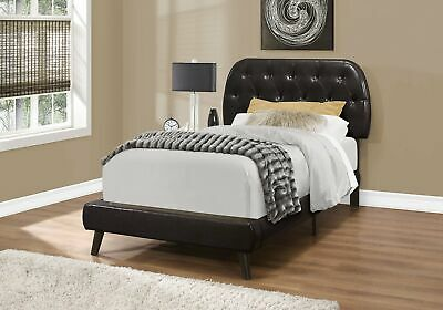 Monarch Specialties I 5982T Bed Twin Size Brown Leather-Look With Wood Legs