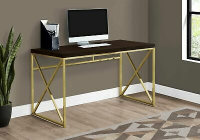 "Monarch Specialties I 7201 Computer Desk 48""L Cappuccino Gold Metal"