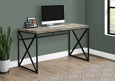 "Monarch Specialties I 7452 Computer Desk 48""L Taupe Reclaimed Wood Black Metal"