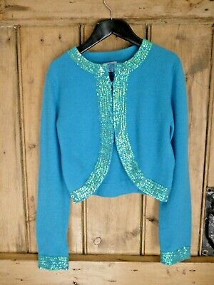 Monsoon girls age 8-10 turquoise sequinned party cardigan EXCELLENT COND