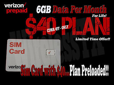 Verizon sim Card $40 and 6GB FOR LIFE - included one month FREE watch VIDEO