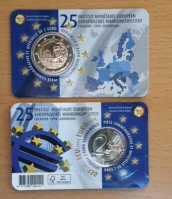 "2€ Belgium 2019 Coincard ""25th European Monetary Institutel""."