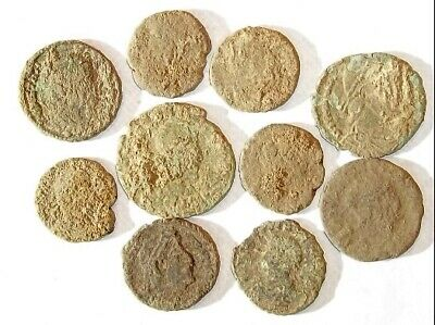10 ANCIENT ROMAN COINS AE3 - Uncleaned and As Found! - Unique Lot 11847