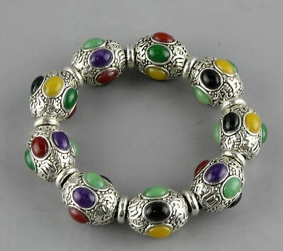 Collect China Decor Tibet Silver Inlay Agate Carve Delicate Noble Giral Bracelet