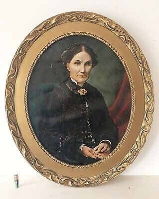 Antique Oil Painting Portrait Of A Lady Oval Gilt Wood Frame English School 1879