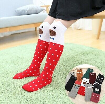 Children Girls Toddler Kids Knee High Length Socks Animal Cartoon 2-8 years Fun