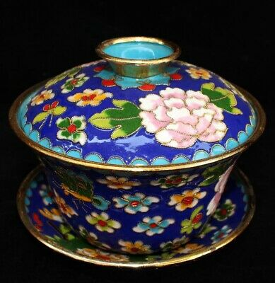 Collectable China Old Cloisonne Hand Carve Bloomy Flower Noble Tea Set Tea Bowl