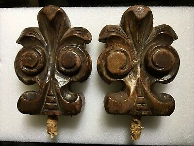 """Vintage / Antique Solid Wood Finial ~ Set of 2 ~ Salvaged Pieces ~ 5 3/4"""" High"""