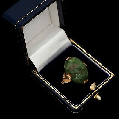 Antique Vintage Art Deco 10k Yellow Gold Filled GF Green Agate Band Ring Sz 5.25