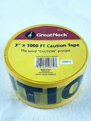 "Great Neck Caution Safety Tape, Non-Adhesive, 3"" x 1000'"