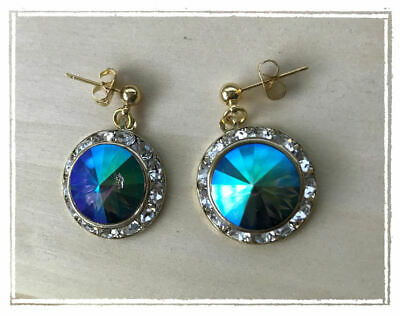 Amazing Swarovski Rivoli Crystal earrings Gold Setting w Rhinestones Rainbow