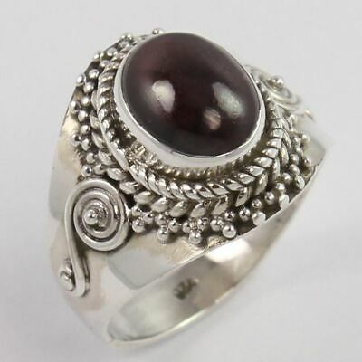 Vintage Fashion 925 Solid Sterling Silver Ring Size US 6 Natural GARNET Gemstone