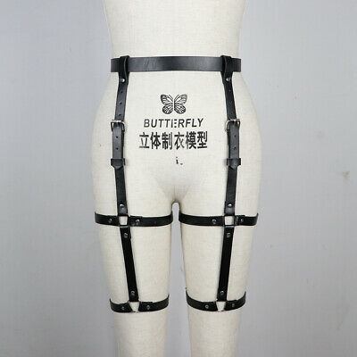 Women's Leather Body Harness Fetish Leg Bondage Lingerie Stocking Garter Belts