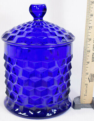 "Beautiful Fostoria American Cobalt Blue Cookie Jar Canister, 9"" Tall EXCELLENT"