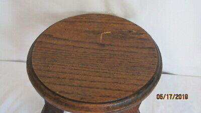 """Antique Mission Arts & Crafts Oak Plant Stand or Stool 9.75"""" T& 10.5"""" Ac AS IS"""
