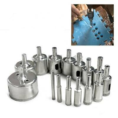 14x Diamond Drill Bits Tile Glass Hole Opener Saw Cutter Tool Bits 3-70mm Silver