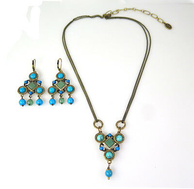 MICHAL GOLAN GEMSTONE GOLD Colorful Necklace and Earrings Set MOVING SALE