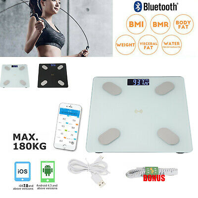 Wireless Digital Bathroom Body Fat Scale 180KG Bluetooth Weight BMI Bone Scales