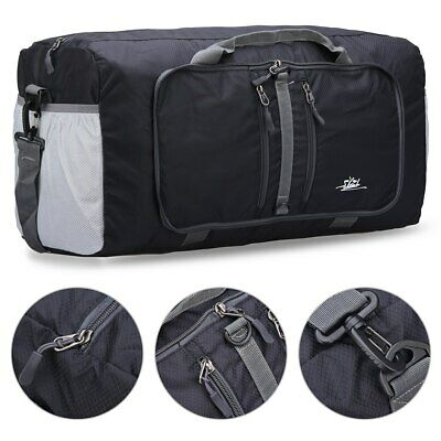 Waterproof Travel Luggage Duffle Bag Carry-On with Adjustable Strap (40L, Black)