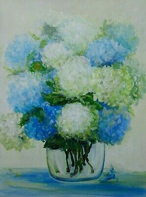 Large Abstract Floral Art Gift Painting Flowers Hydrangea Bouquet Impressionism