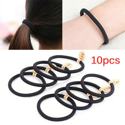 10pcs Black Colors Rope Elastics Hair Ties 4mm Thick Hairbands Girl's Hair Ba &T