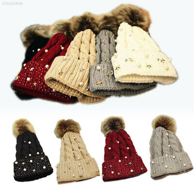 6B22 5 Colors Lady Knitted Cap Beanie Hat Knitting Sports Comfortable