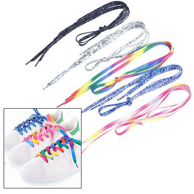 A Pair shoelaces colorful coloured flat round bootlace sneaker shoe laces FT