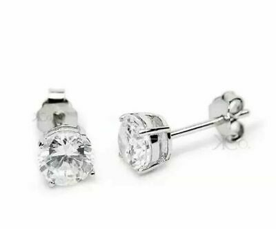 1.00 Carat Round Cut Diamonds Stud Earrings Solid 14k White Gold Over 925 Silver