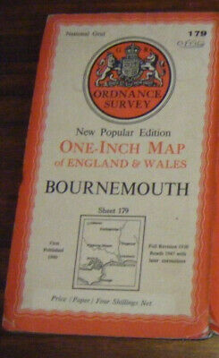 VINTAGE 1947 ORDNANCE SURVEY ONE INCH MAP - Bournemouth