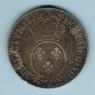 France. 1716-A Louis XV - Ecu.  MM-Flower (Paris) Parts of Host Coin Visible. VF