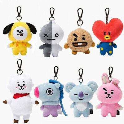 Kpop BTS BT21 Plush Doll Keychain Stuffed Cotton Toy Keyring MANG COOKY RJ TAT E