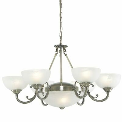 Searchlight WINDSOR 8 LIGHT ANTIQUE BRASS FITTING-MARBLE GLASS 3778-8AB
