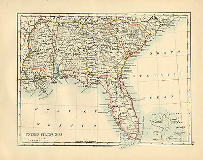 1892 Victorian Map ~ United States South-East ~ Florida New Orleans Mississippi