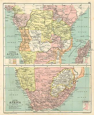1891 Victorian Map ~ Central & South Africa ~ Cape Coony Congo State Natal Zulu