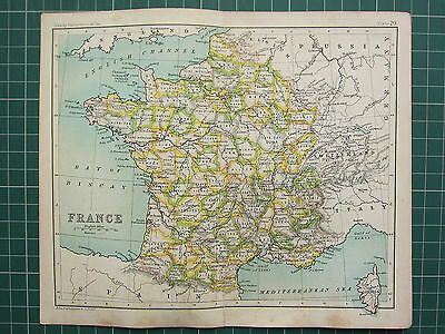 1904 Small Map ~ France ~ Somme Marne Loire Gard In Departments